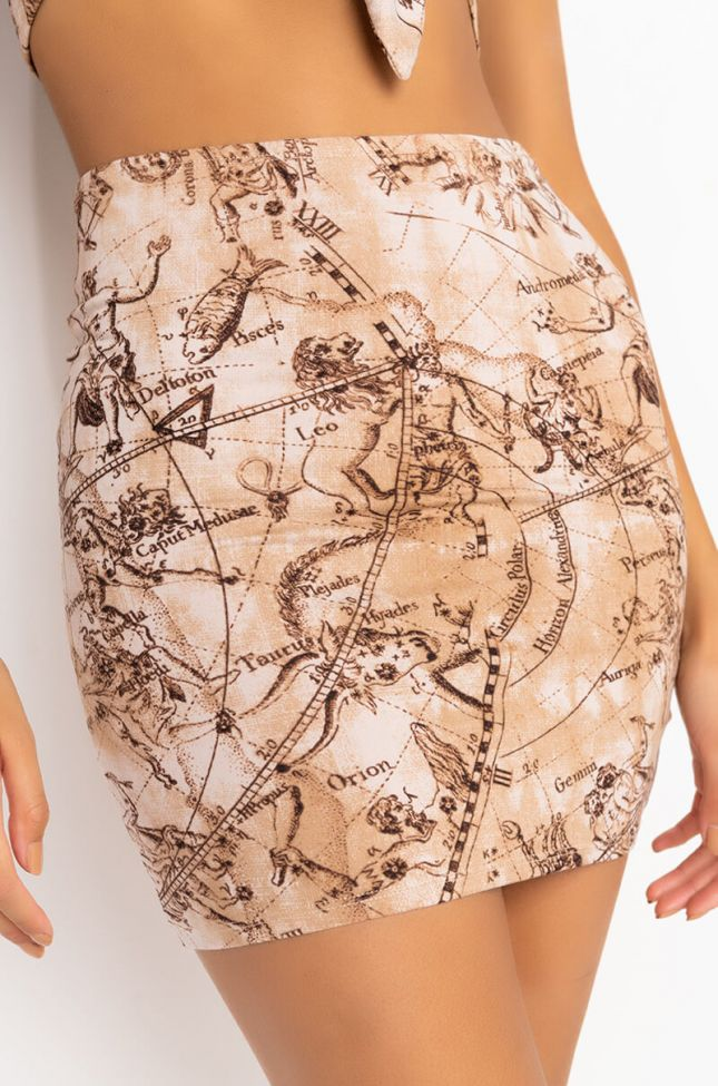 Detail View Take Me There Mini Skirt in Beige Multi