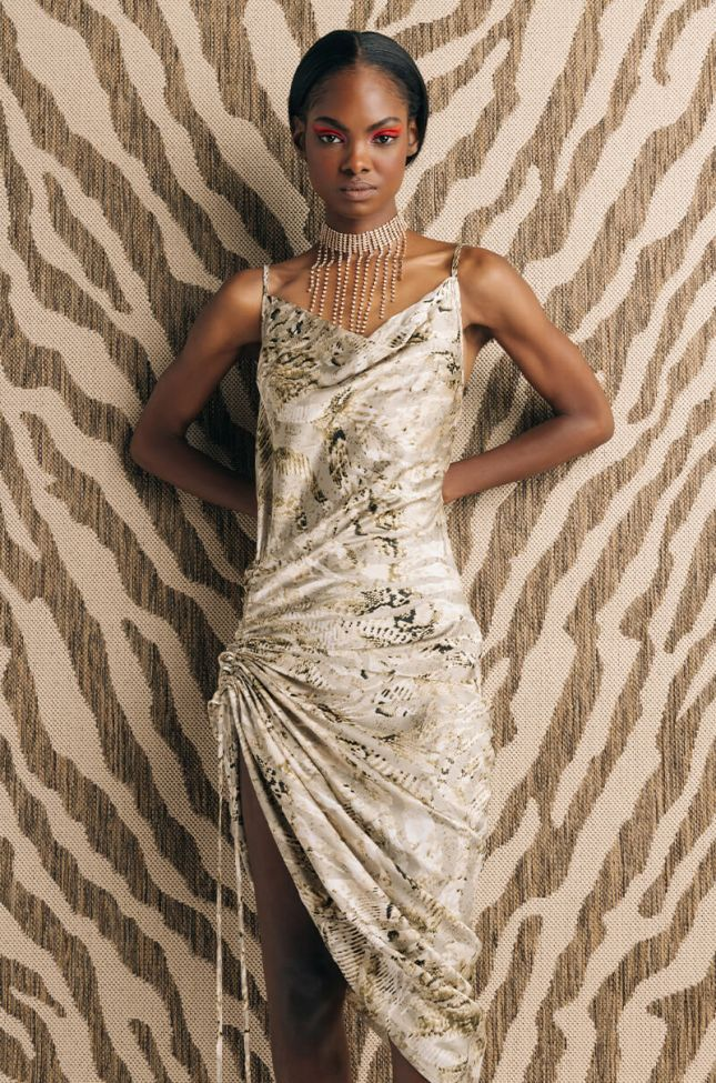 Front View Take Me To The Palace Spaghetti Strap Dress in Beige Multi