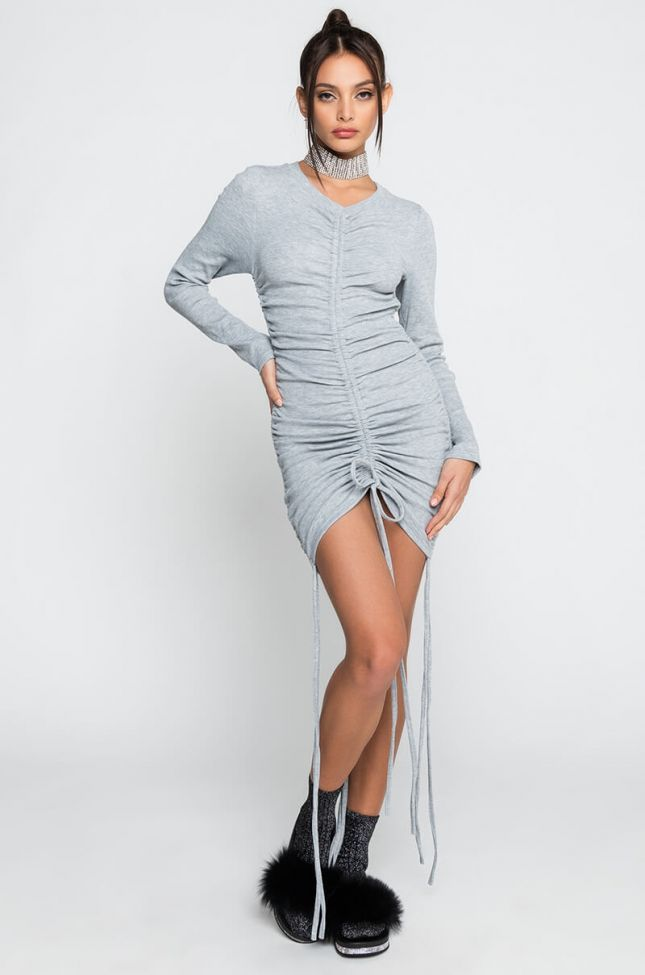 Side View Take Your Time Long Sleeve Drawstring Mini Dress in Heather Grey