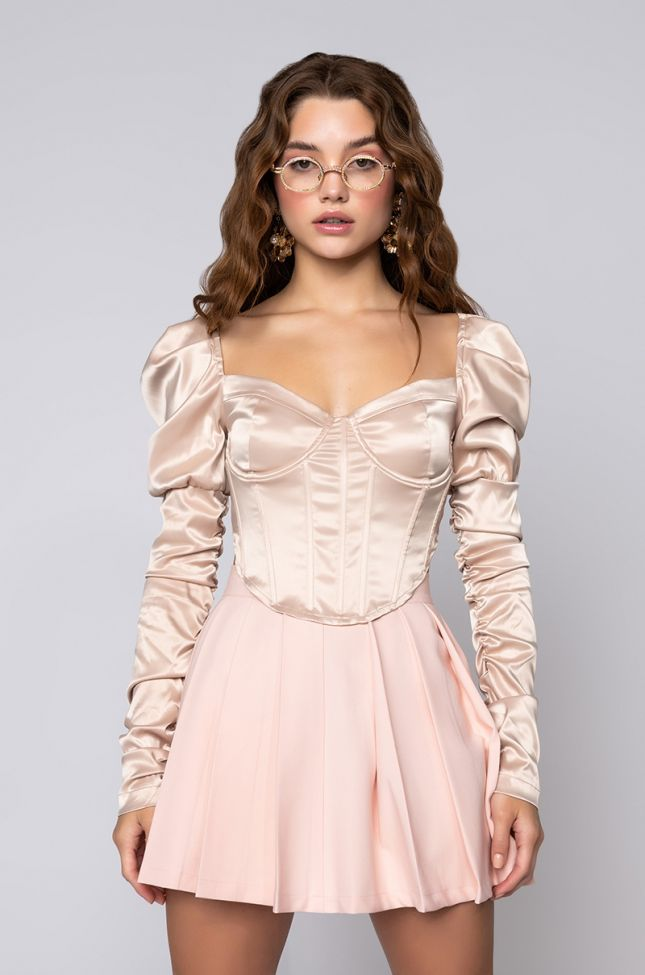 Front View Taking Names Ruched Sleeve Corset Blouse in Beige