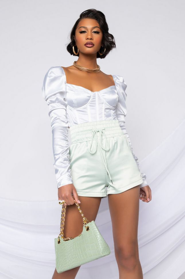 Front View Taking Names Ruched Sleeve Corset Blouse in White
