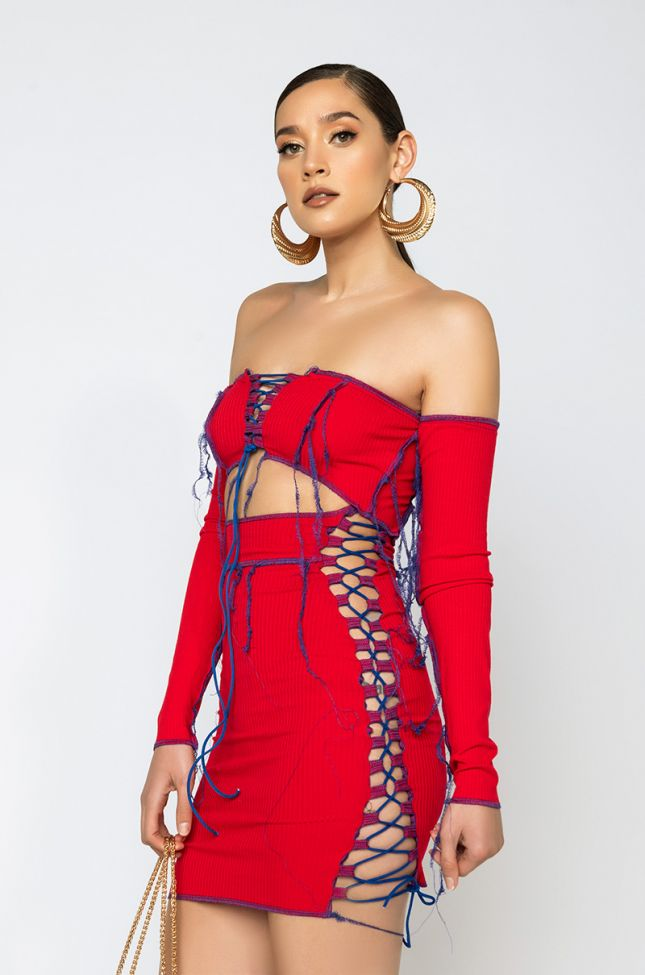 Side View Talk To Me Contrast Trim Off The Shoulder Mini Dress in Red Multi