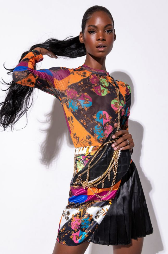 Front View Talk To Me Printed Mesh Bodysuit