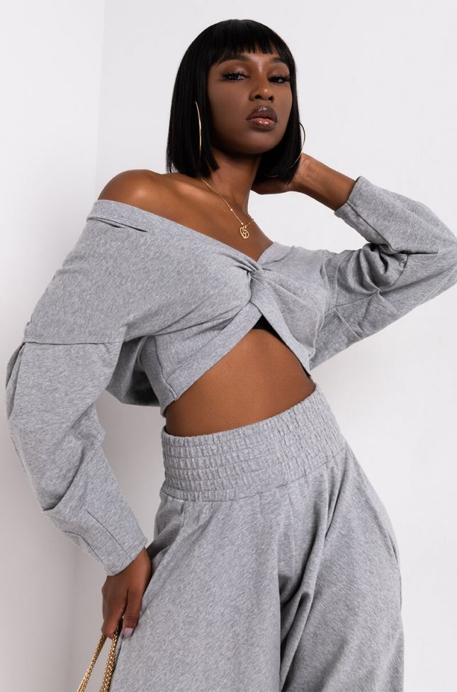 Front View Tamera Long Sleeve Front Twist Casual Top in Heather Grey