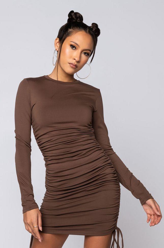 Front View Taste Just Like Chocolate Long Sleeve Mini Dress in Brown