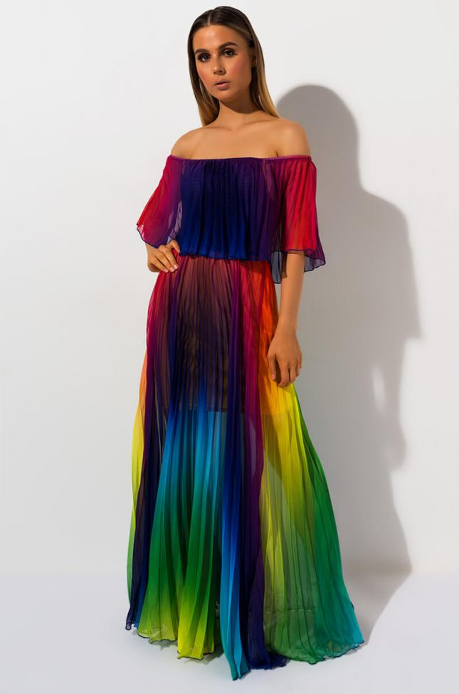 Front View Taste The Rainbow Pleated Maxi Dress in Green Rbw