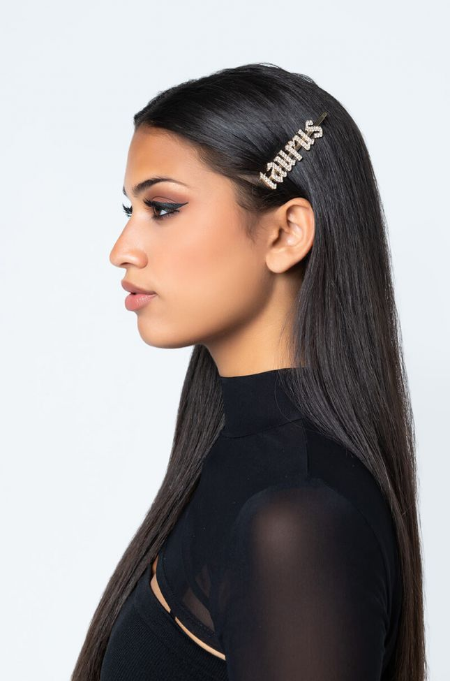 Front View Taurus Hair Clip in Gold
