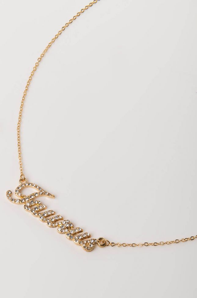 Back View Taurus Rhinestone Name Plate Necklace in Gold