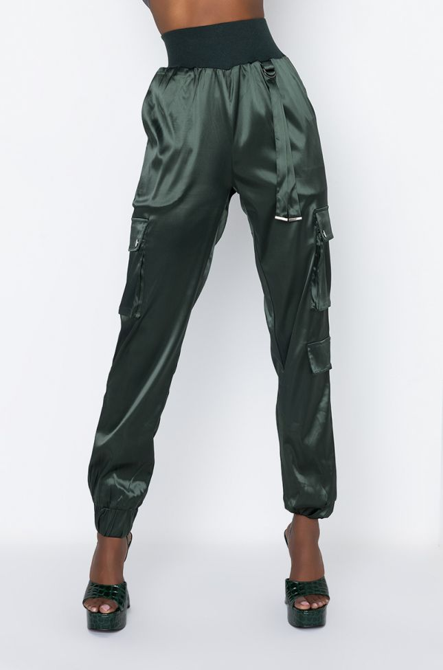 Front View Taylor Satin Jogger in Red
