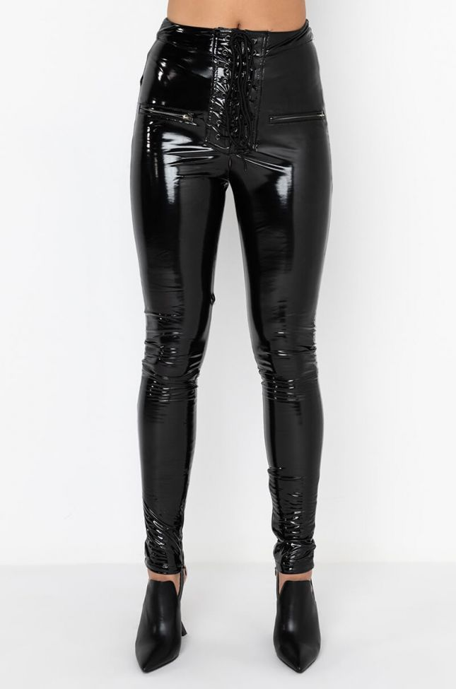 Front View Te Deseo Faux Patent Leather Legging