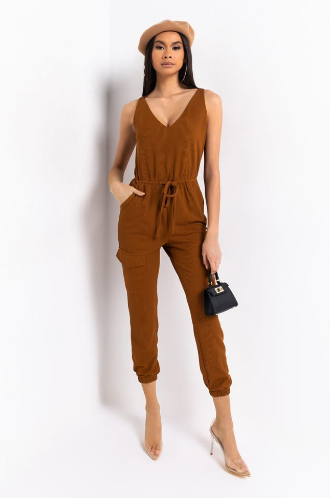 Front View Teddy Bear Betty Cozy Tie Front Jumpsuit in Brown