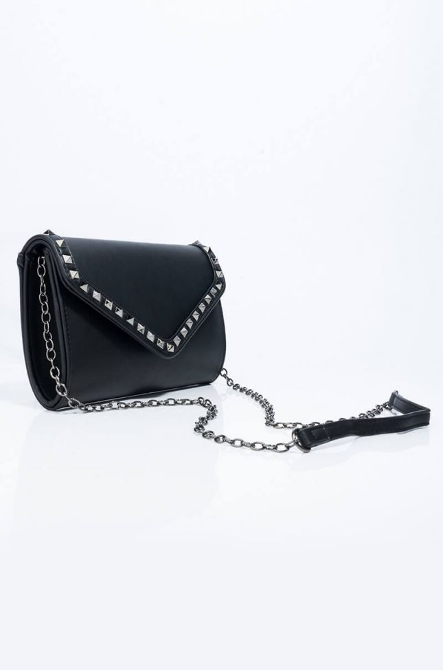Back View Tell Me About It Stud Clutch in Black