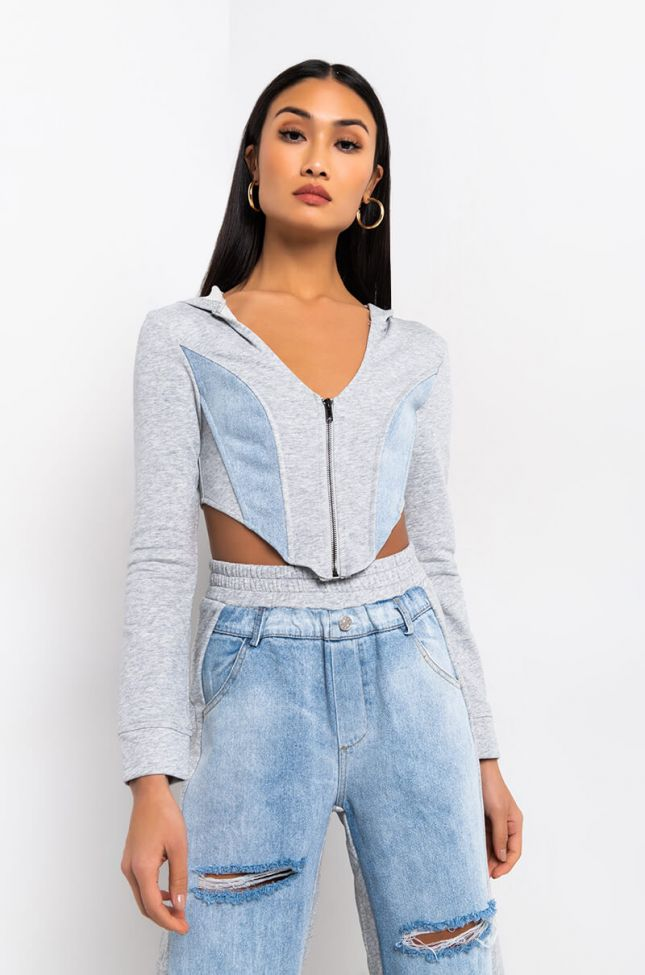 Side View Tempted To Touch Long Sleeve Top in Heather Grey