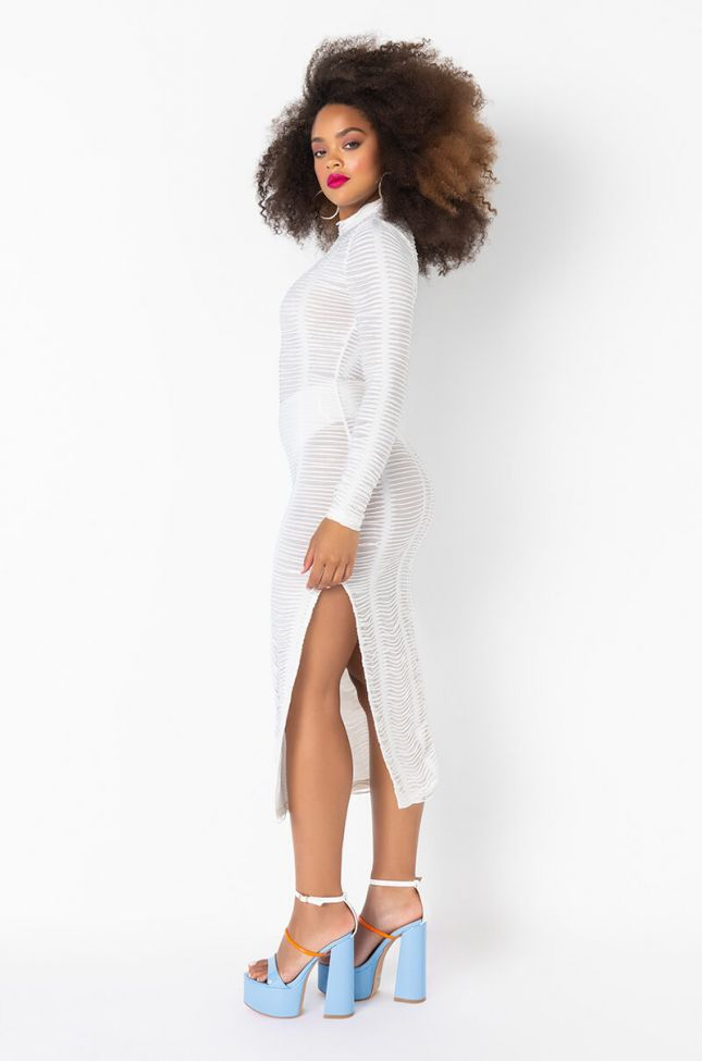 Side View Textured Fabric Mock Neck Midi Dress in White