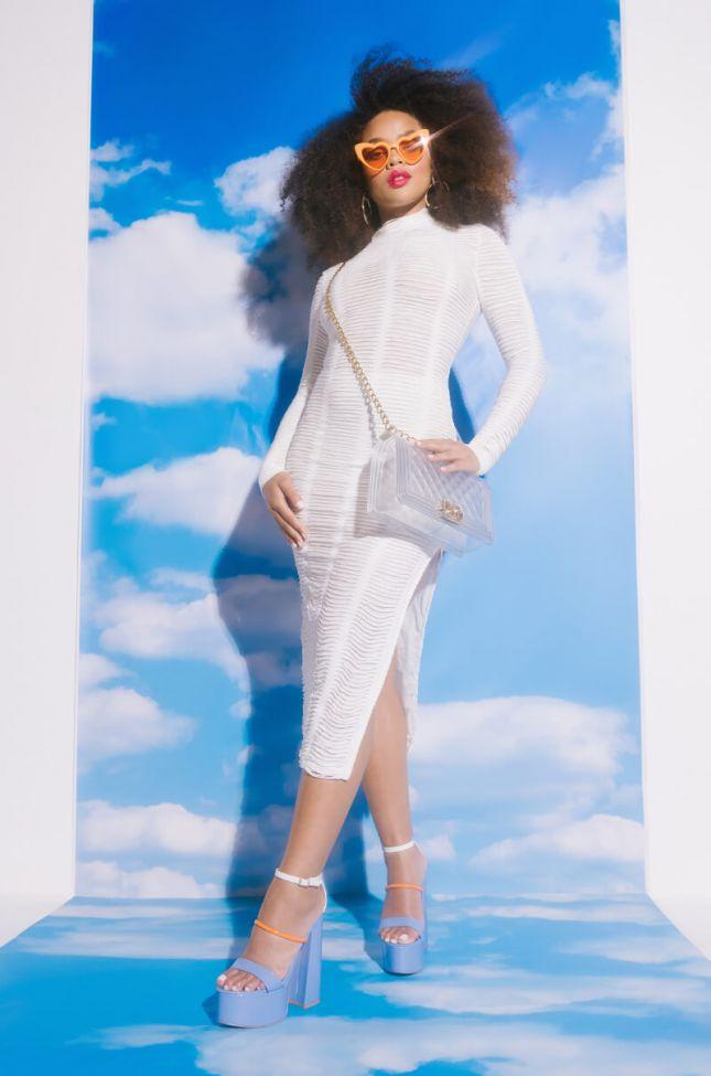 Full View Textured Fabric Mock Neck Midi Dress in White