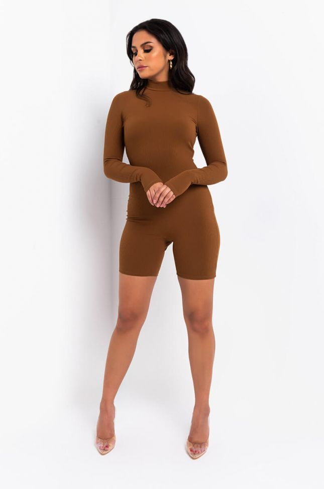 Full View Thank You Next Mock Neck Long Sleeve Romper in Brown