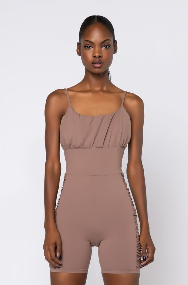 Front View Thank You Next Ruched Romper in Light Brown
