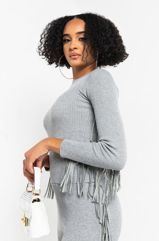 Side View That Fringe Fringe Knit Crop Top in Heather Grey