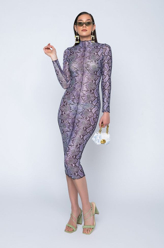 Front View That Girl Is Poison Long Sleeve Mesh Midi Dress in Purple
