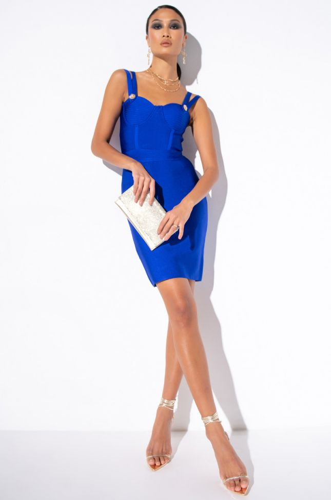 Full View That Girl Is Poison Midi Bandage Dress in Blue