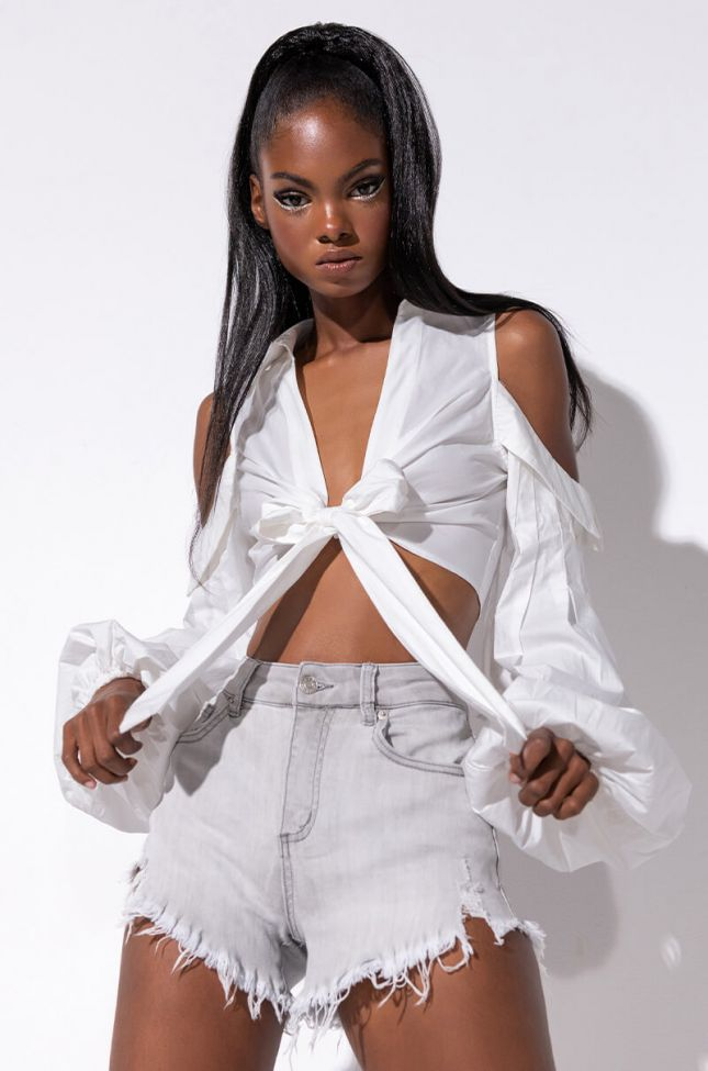 Front View Thats Right Cold Shoulder Crop Top in White