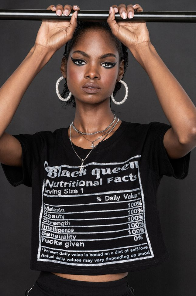Front View The Angelou Cropped Tee in Black