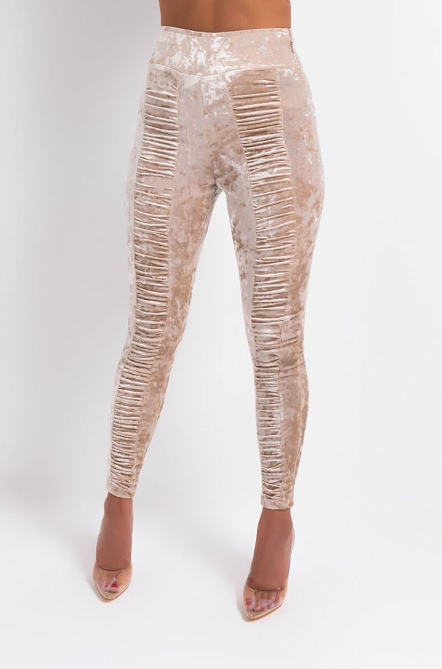 Front View The Beat Goes On Crushed Velvet Stacked Pants in Beige