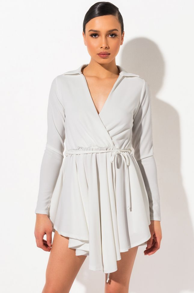 Front View The Best Fit Long Sleeved Mini Dress  in White