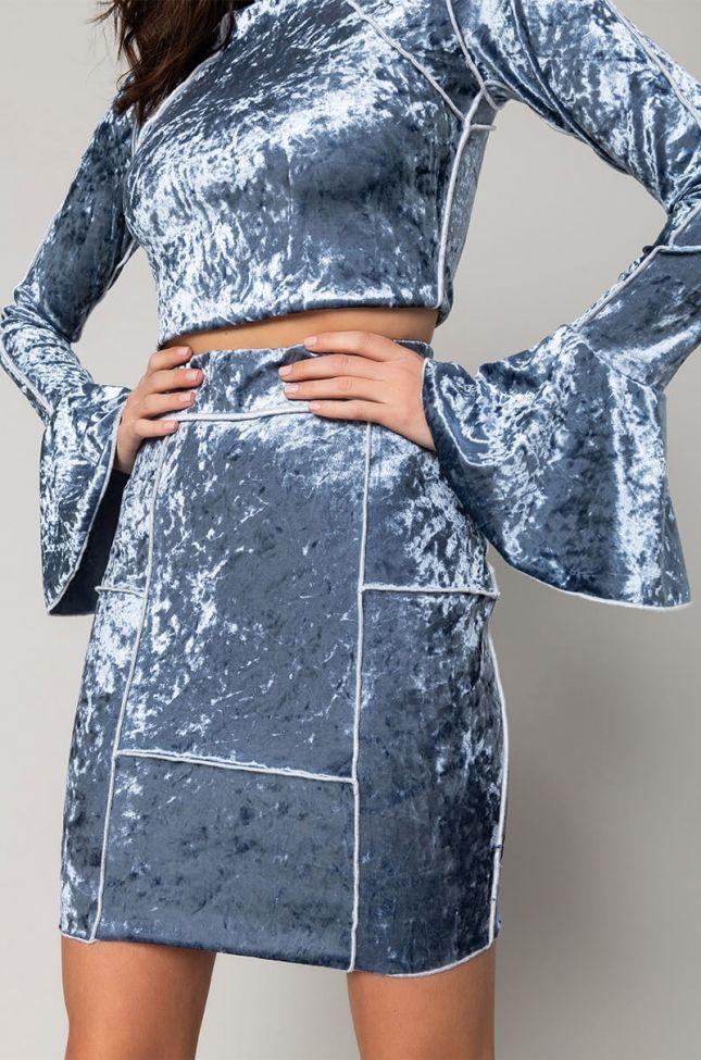 Detail View The Best Of Me Velvet Mini Skirt in Blue