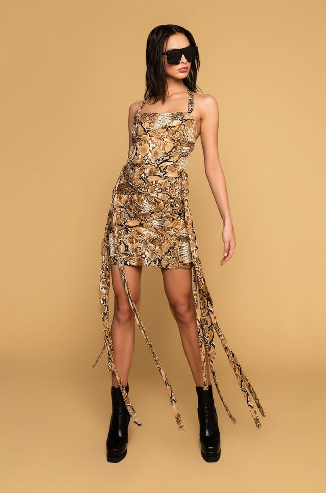 Side View The Best On Earth Tube Mini Dress in Brown Multi