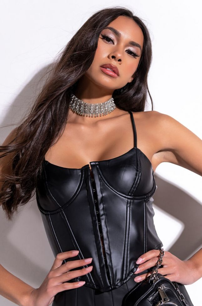 Front View The Bold Type Faux Leather Corset Top