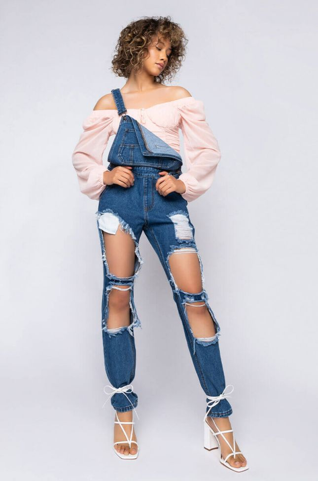 Full View The Distressed Bf Overall in Dark Blue Denim