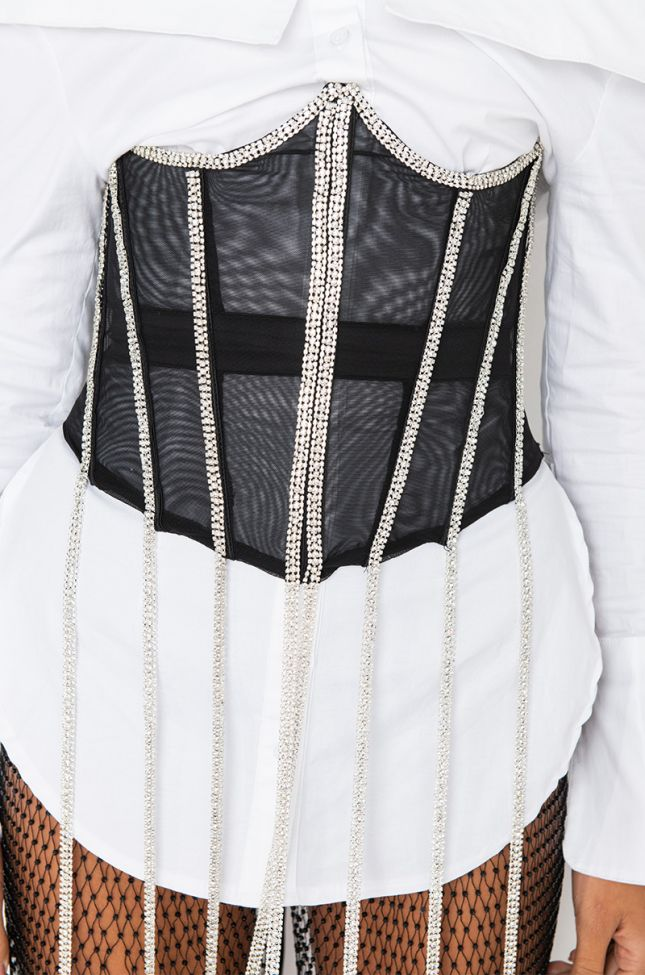 Detail View The Extraordinary Rhinetone Detail Corset in Black