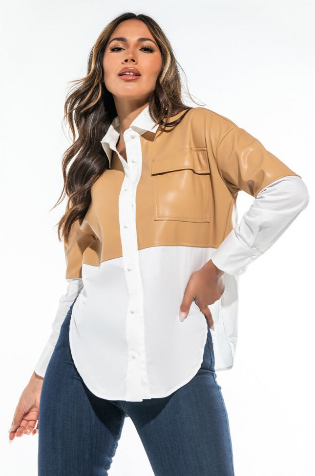 THE FEELING IS NEUTRAL FAUX LEATHER DETAIL TOP