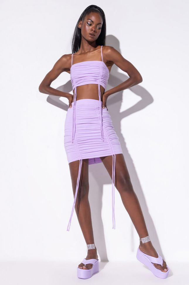 Full View The Game Plan Ruched Mini Skirt in Light Purple