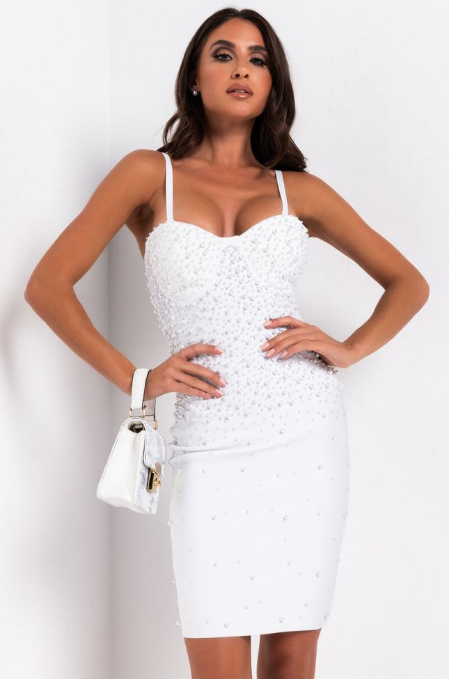Front View The Little Things Pearl Bandage Mini Dress in White