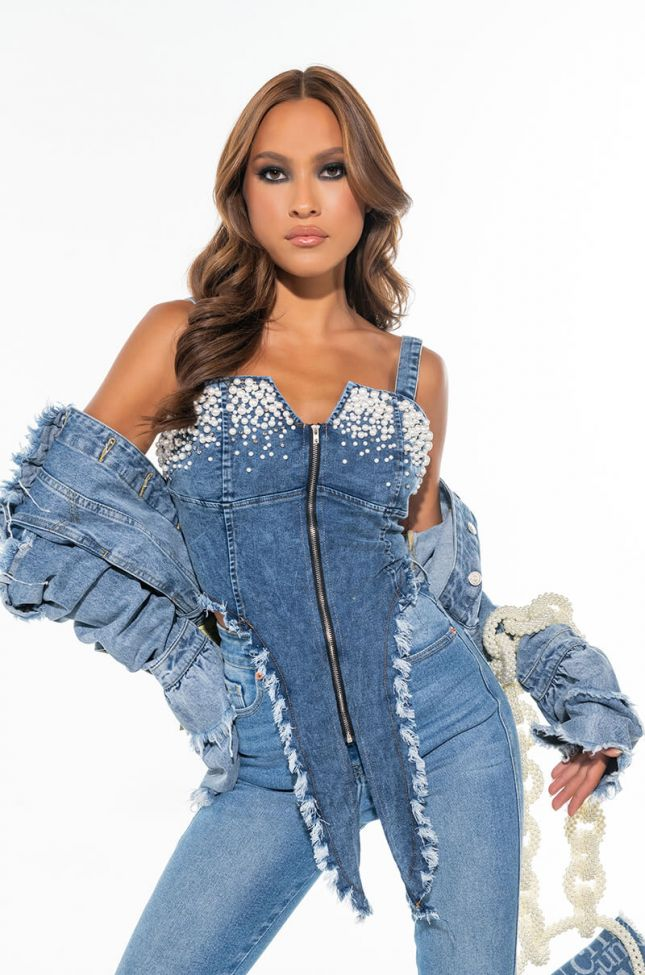 THE LOOK DENIM FASHION TOP WITH PEARL DETAILING