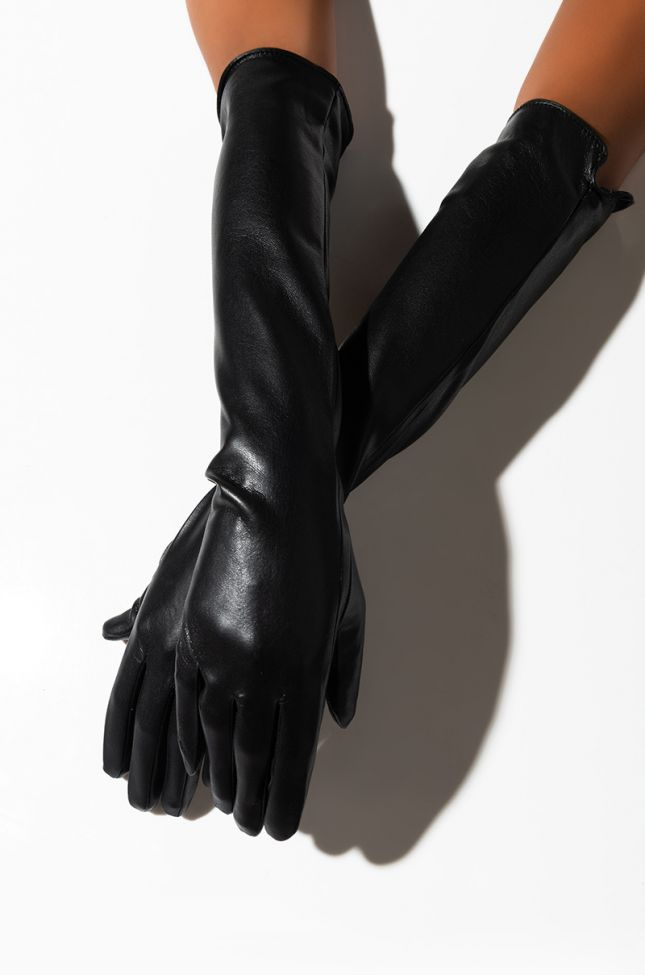 Front View The Nanny Long Pleather Glove in Black