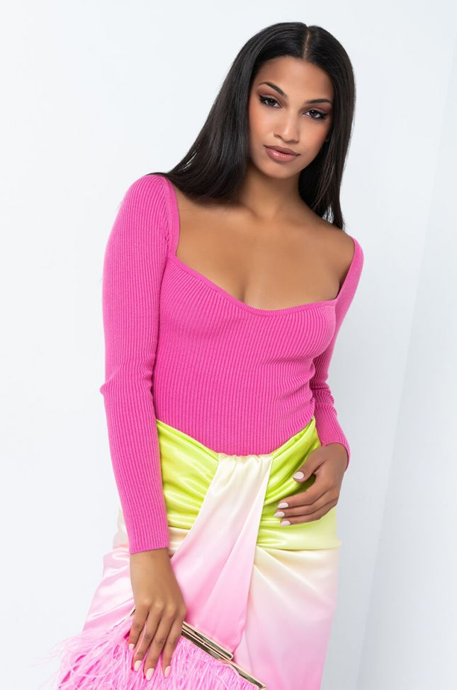 Front View The New Sweetheart Neckline Knit Bodysuit in Light Pink