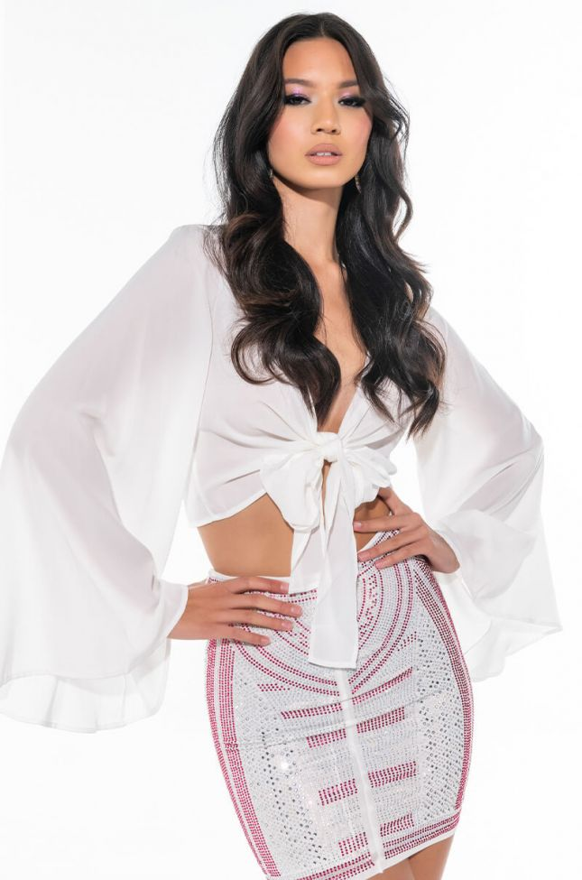 THE ONE AND ONLY SATIN TIE FRONT BUTTERFLY BLOUSE