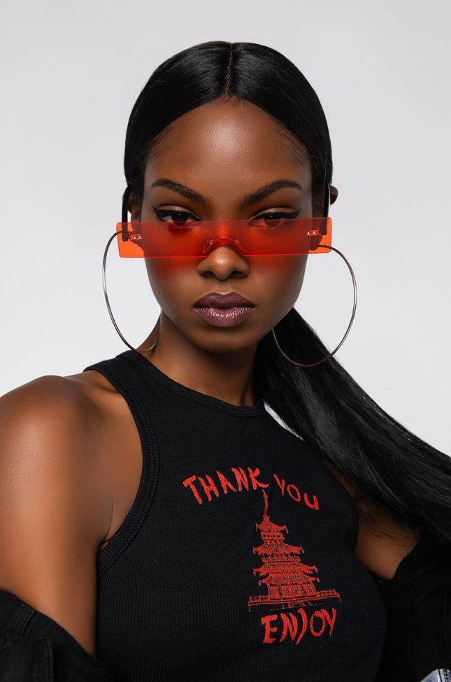 Front View The Takeover Small Sunnies in Red Multi