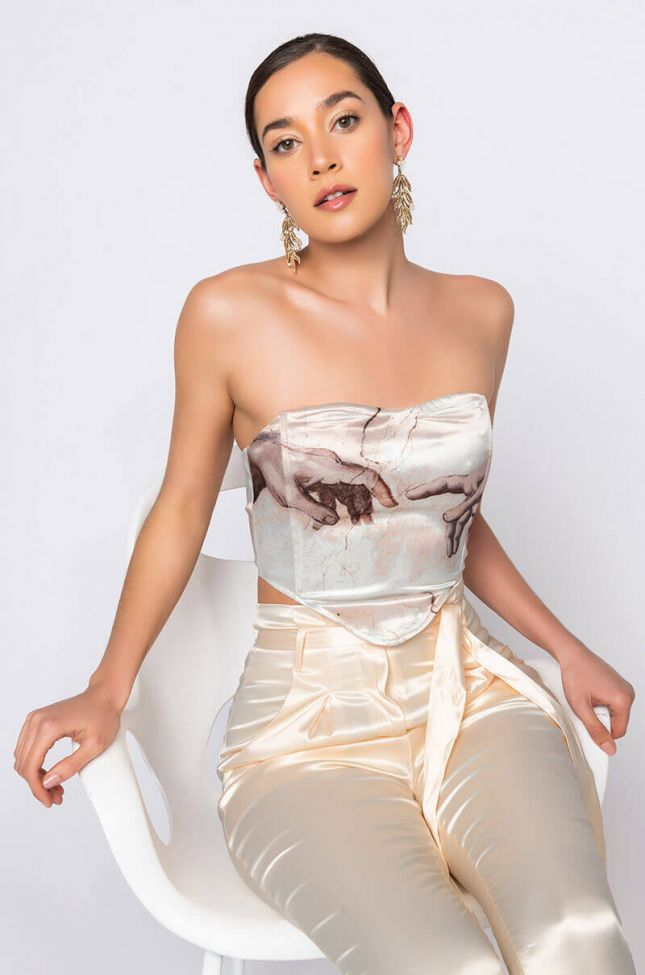 Front View The Touch Satin Corset in Ivory Multi