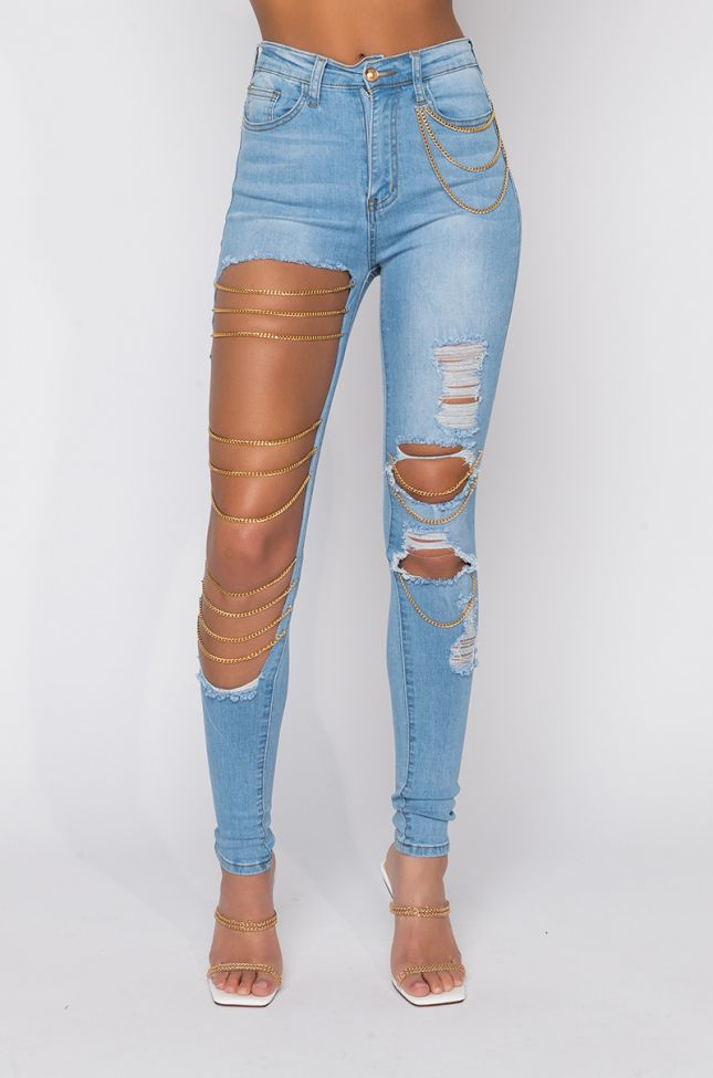 Front View The Way You Move High Waisted Skinny Jeans in Light Blue Denim