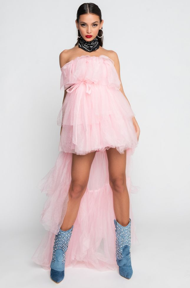 Back View Thinking Of You High Low Tulle Maxi Dress in Pink
