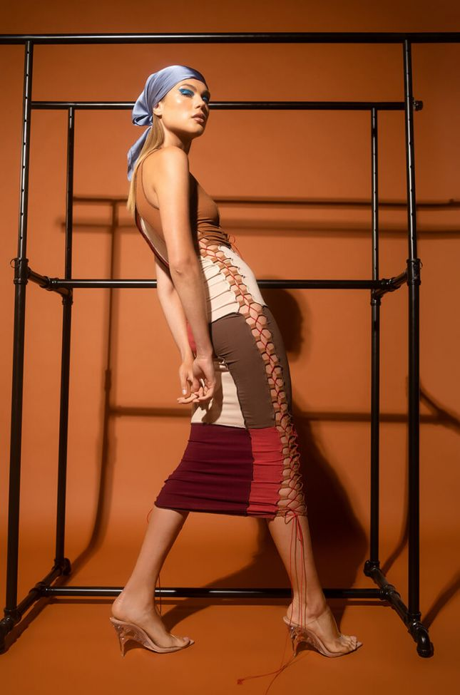 Front View Thinking Of You Midi Dress With Lace Up in Brown Multi