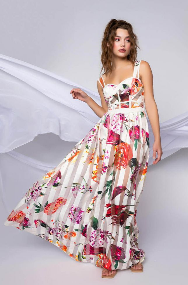 Front View This Look Says It All Maxi Floral Dress in White Multi