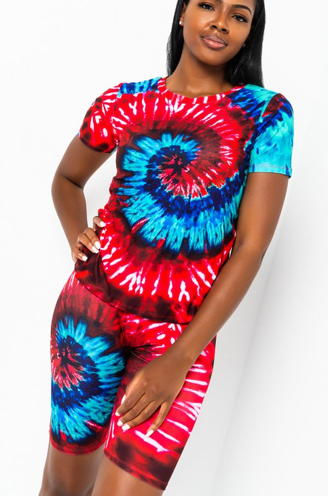 Front View Tie Dye Dream T Shirt in Red Multi
