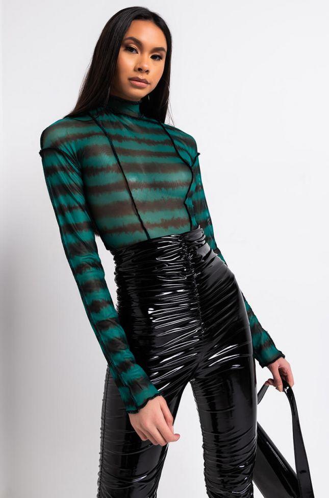 Front View Tie Dye Lovin Mesh Long Sleeve Bodysuit in Green Multi