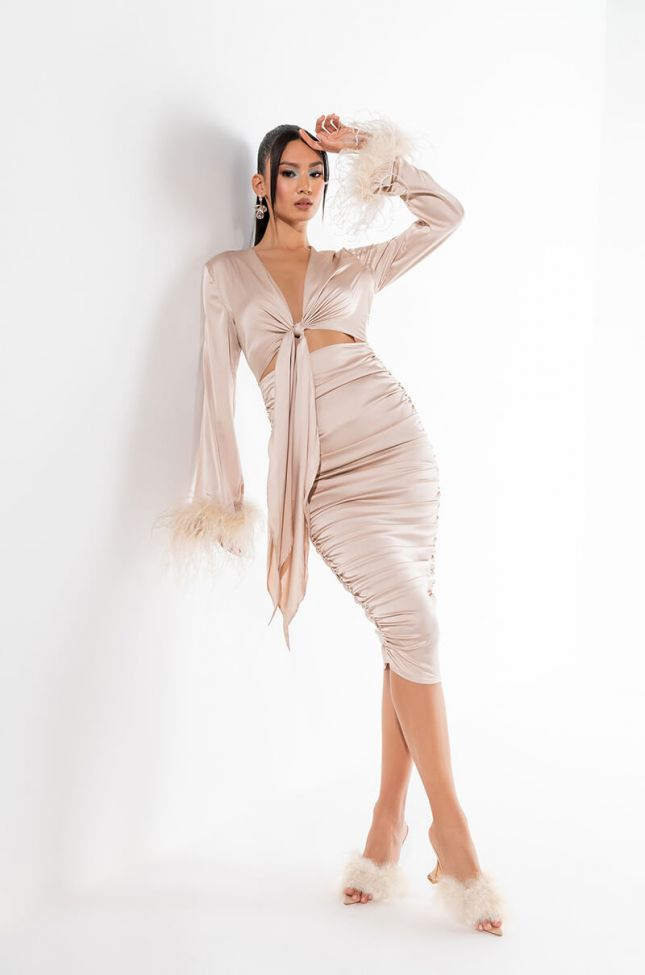 TIE FRONT REAL FEATHER SATIN MIDI DRESS
