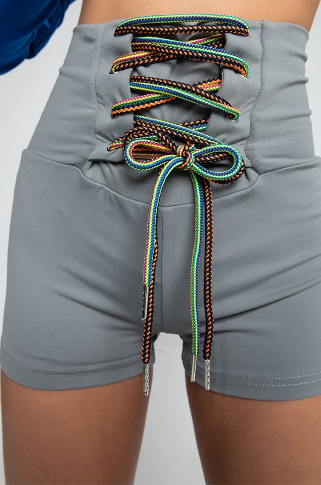 Detail View Tie Me Up Shorts in Grey